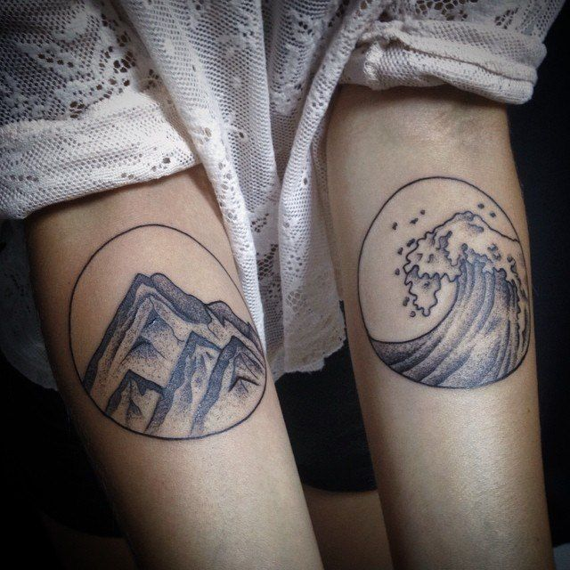 Earth And Water Forearm Tattoos