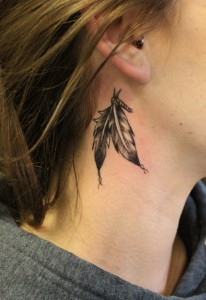 Feathers Behind The Ear Tattoo