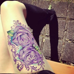 Gorgeous Roses Thigh Tattoo