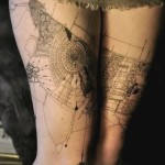 Moscow Map Thigh Tattoo