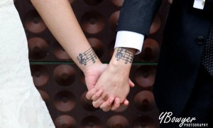 Music Notes Couple Arm Tattoos