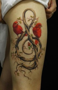 Musical Roots With Birds Thigh Tattoo