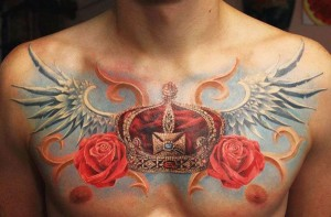 Realistic Crown Chest Tattoo