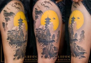 Temple And Sunset Arm Tattoo
