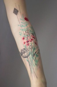 Weed And Flowers Arm Tattoo