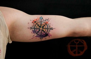 Anchor Watercolor Arm Tattoo