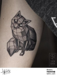 Dot Works And Lines Fox Arm Tattoo