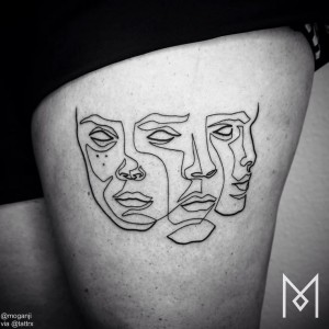 Faces Single Line Thigh Tattoo