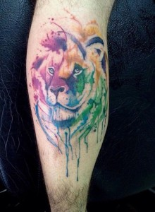 The Great Lion Watercolor Tattoo