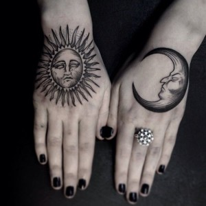 Traditional Sun And Moon Hand Tattoos