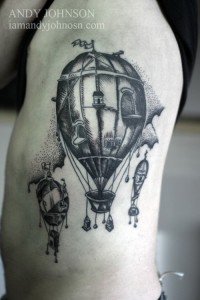 Vintage Hot Air Balloons Body Tattoo
