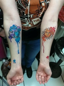 Watercolor Moon And Sun Forearm Tattoos