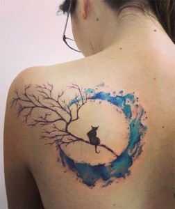 Cat And Moon Watercolor Back Tattoo