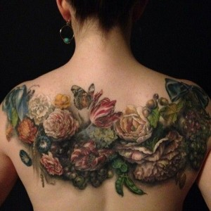 Exquisite Floral Back Tattoo