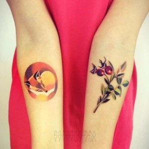 Exquisite Fox And Cherries Forearm Tattoos