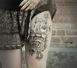 Intricate Roses Thigh Tattoo