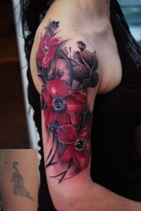 Lovely Red Flowers Arm Tattoo