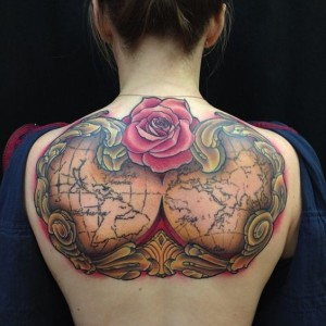 Map With Flowers Upper Back Tattoo