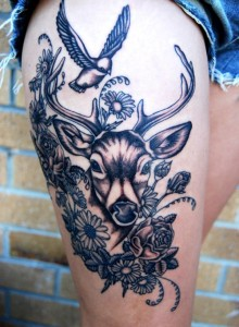 Mighty Deer Thigh Tattoo