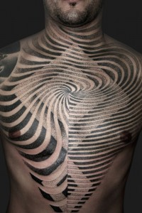 Optical Effects Chest Tattoo