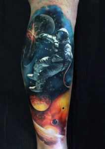 Outer Space Leg Tattoo