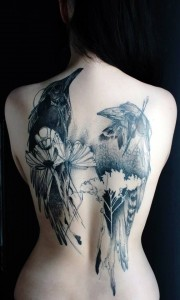Ravens And Flowers Back Tattoo