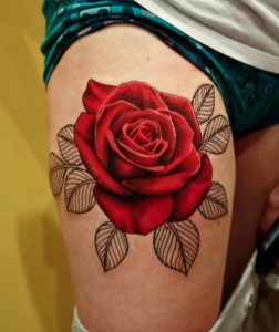 Realistic Red Rose Thigh Tattoo