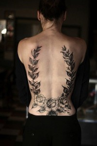 Roses And Leaves Lower Back Tattoo