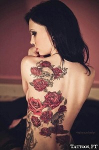 Roses And Skull Back Tattoo