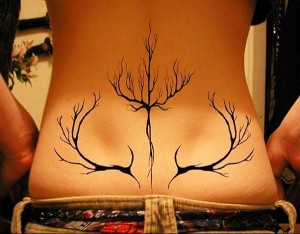 Antlers Lower Back Tattoo