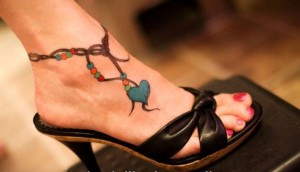 Blue Heart Ankle Tattoo