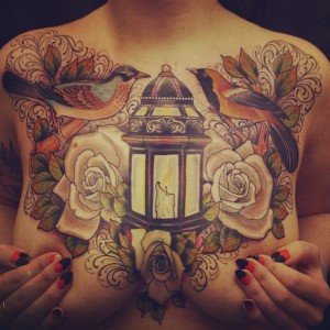Candle Light Chest Tattoo
