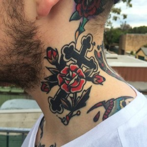 Celtic Cross With Roses Neck Tattoo