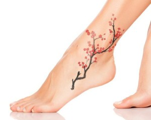 Cherry Blossom Ankle Tattoo