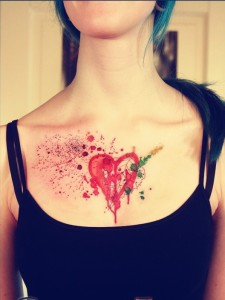 Doodled Watercolor Heart Chest Tattoo