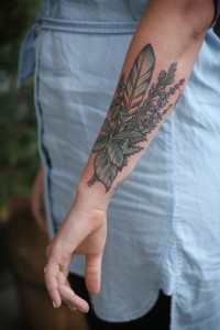 Feather And Leaves Outer Forearm Tattoo
