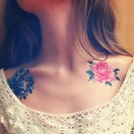 Gorgeous Flowers Clavicle Tattoo