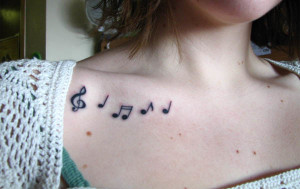 Music Notes Clavicle Tattoo