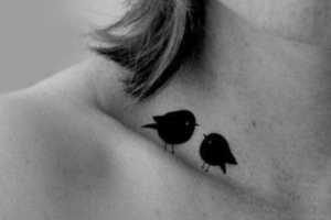 Perching Birds Clavicle Tattoo
