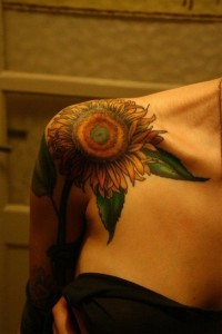 Sunflower Clavicle Tattoo