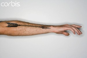 Traditional Arrow Outer Forearm Tattoo