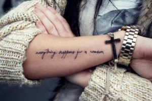 Typographic Outer Forearm Tattoo