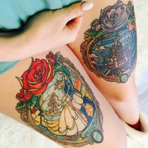 Beauty And The Beast Thigh Tattoo