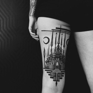 Cathedral Back Of The Leg Tattoo