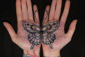 Connecting Butterfly Palm Tattoos