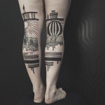 Country View Back Of Leg Tattoo
