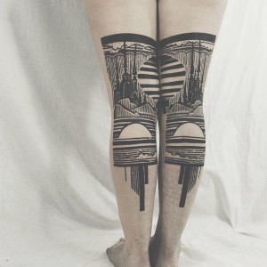 Sky View Back Of The Legs Tattoo
