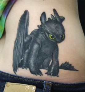 Toothless Lower Back Tattoo