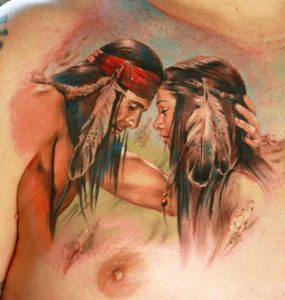 Native American Indian Couple Chest Tattoo