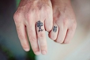 Owl And Tree Finger Tattoos